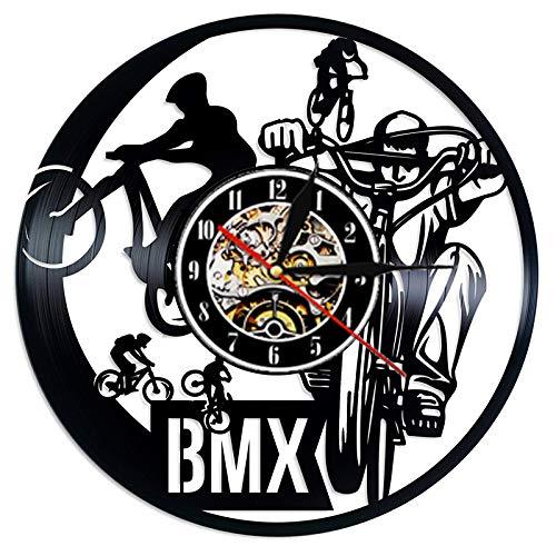 CVG Reloj de Pared con Disco de Vinilo Deportivo BMX, Reloj Colgante con Tema Deportivo de Ciclo de diseño Moderno, Relojes de Pared de Vinilo, decoración del hogar, Regalos para Jinete