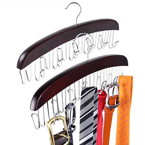 Ohuhu Belt Organizer Belt Hanger 12 Hooks Tie and Belt hanger Belt Racks Belt Holder Holds Leather Belt Bow Tie Scarves and More for Men and women Sturdy Metal Hanger 2 Pack Walnut