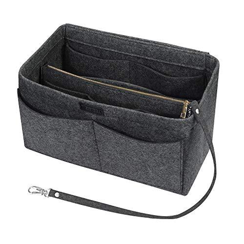 Ropch Handtaschen Organizer für Frauen, Filz Taschen Organisator Tote Organizer Handtaschenordner Bag in Bag Organizer mit Reißverschluss-Tasche, Mittelgrau - L