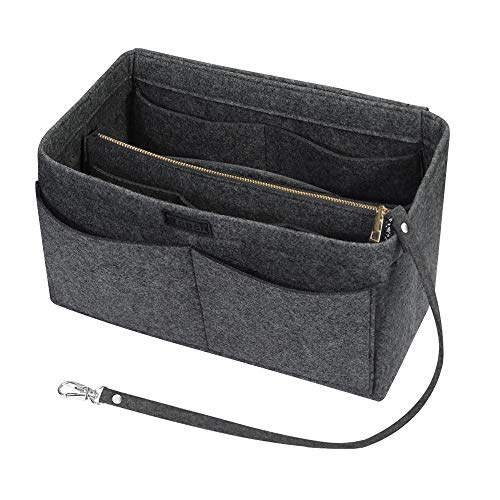 Ropch Handtaschen Organizer für Frauen, Filz Taschen Organisator Tote Organizer Handtaschenordner Bag in Bag Organizer mit Reißverschluss-Tasche, Mittelgrau - M