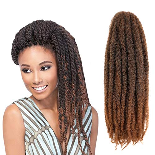 Callia Marley Hair For Twists 6 Packs Marley braiding Hair 18' Afro Kinky Marley Twist Braid Hair Extensions (18Inch, T1B-30)
