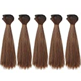 MUZI WIG 5pcs/lot,15x100cm Straight Deep Brown Heat Resistant Hair Pieces for Handcraft Doll Wigs