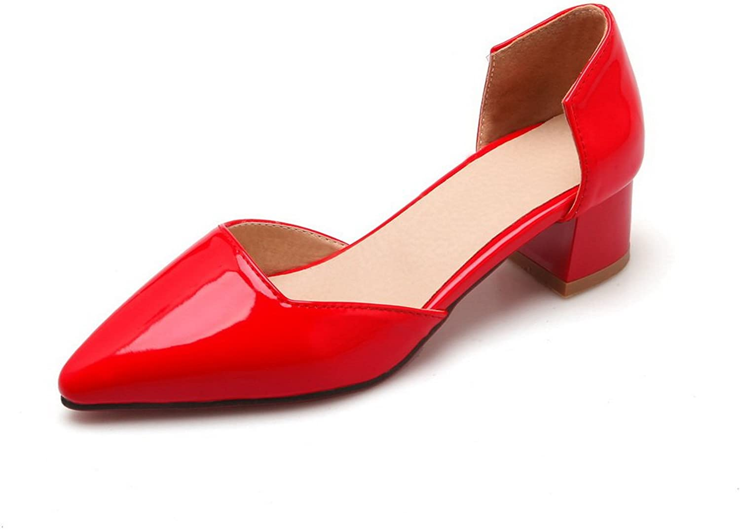 BalaMasa Ladies Pull-On Chunky Heels Pointed-Toe Patent-Leather Pumps-shoes