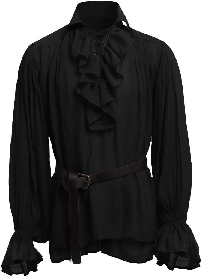 Dasongff Klederdrachthemd voor heren, middeleeuws, opstaande