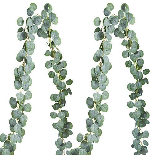2 Pack 6.5 Feet Eucalyptus Garland,Artificial Silver Dollar Eucalyptus Leaves Greenery Garland Wreath Vine Wedding Party Table Backdrop Arch Wall Decor,Grey Green Color