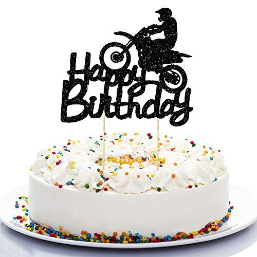 NN-BH Black Flash Happy Birthday Cake Topper, Birthday Party Cake Decoration, Sports Theme Cake Topper (Motocross)