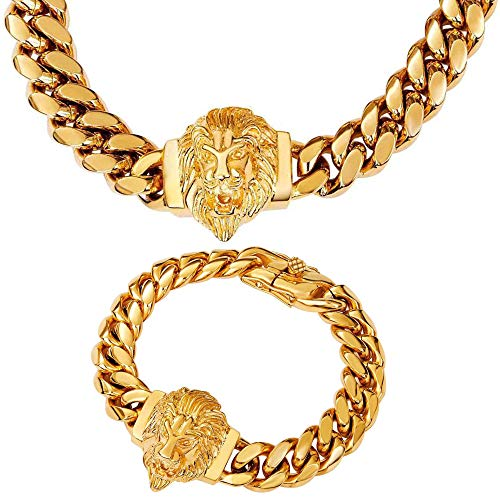 W/W Lifetime Cuban Link Chain for Men Lion Choker Hip Hop Necklace 18' and Bracelet 8.5' Jewelry Set, 18K Gold 14mm Polishing Stainless Steel