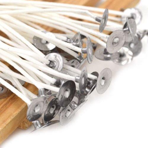 Aquiver 100 Stück DIY Kerzendocht Pre gewachst 20 cm mit sustainers Baumwolle