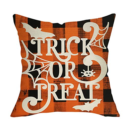 Softxpp Trick or Treat Halloween Decorative Throw Pillow Cover, Orange Buffalo Plaid Check Cushion Case Spider Web Bat Decor Sign, Fall Holiday Square Pillowcase for Home Decoration Sofa Couch 18 x 18