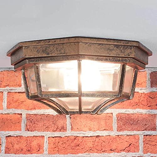 Lámpara de techo nostálgica para lámpara de exterior de cobre envejecido / IP44 / aluminio fundido a presión y cristal / E27 a 60W / lámpara de techo rústica de patio y terraza jardín