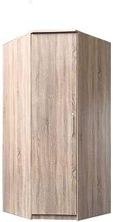 E-MEUBLES Armoire d'angle à Portes pivotantes, Penderie avec étagères 1 Porte (Tringle) (LxHxP): 96/96x210x64 Ruth (Sonoma)