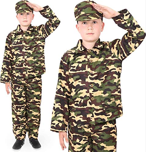 BOYS ARMY FANCY DRESS OUTFIT. CHILDS COMBAT SOLDIER COSTUME. CHILDS...