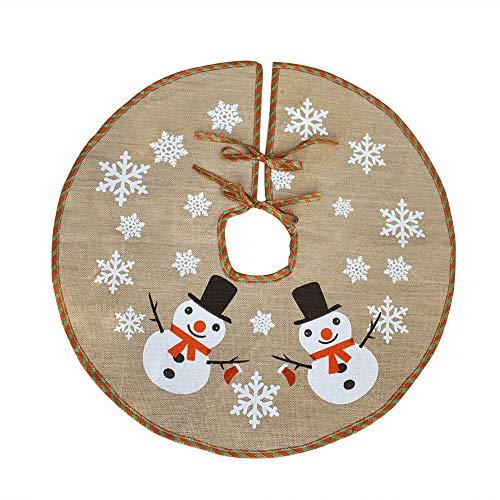 Awtlife - Tappetino in iuta per albero di Natale, diametro 76,2cm, decorato con Babbo Natale e le renne sulla slitta che portano i doni