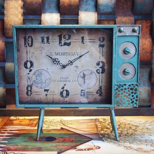JKCKHA Reloj de soporte americano retro hierro vertical TV sala de estar rectangular aterrizaje reloj adornos