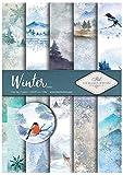 Itd Collection - Scrapbooking Papel, Set de Papel Decorativo Scrapbook A4, 5 Hojas de Papel 210x297 mm (Winter)