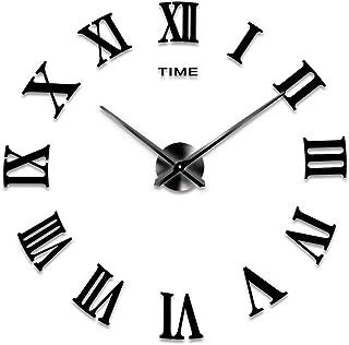 Generic Diy Frameless 3D Mirror Sticker Wall Clock, Black, Large, Rome-008