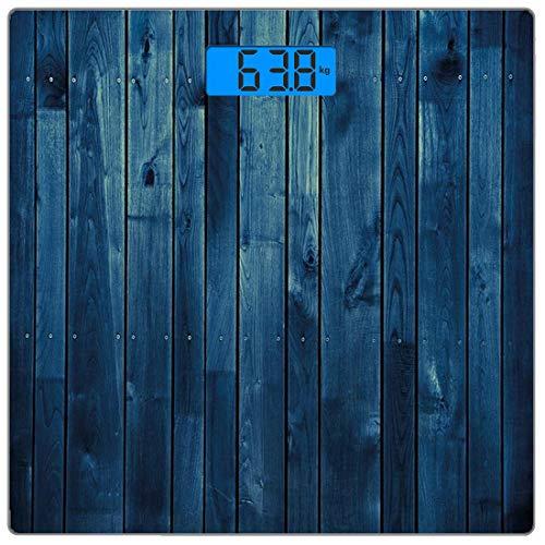 Escala digital de peso corporal de precisión Square Azul oscuro Báscula de baño de vidrio templado ultra delgado Mediciones de peso precisas,Tablones de madera Textura Tableros de imagen Suelo Pared M