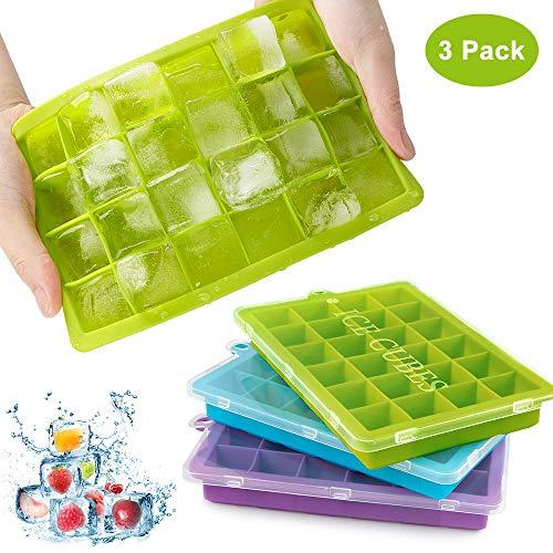 synmixx Eiswürfelform Silikon, 3er Pack Eiswürfelbehälter mit Deckel, Stapelbar Einfach zum Herausnehmen Eiswürfelbehälter, LFGB Zertifiziert, BPA Frei, 24-Fach