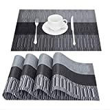 GIVERARE Placemats Set of 4, Heat-Resistant Woven Vinyl Placemat, Non-Slip Washable PVC Table Mat, Easy to Clean Premium Plastic Table Mats for Dining Table, Kitchen Table (Black+Gray)