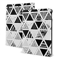 SORA 白黒 抽象的な花 三角形 パッチ iPad Mini第4 / 5世代用ケース 高耐久スマートケース Apple Pencil用ホルダー内蔵 瞬時オンオフマグネットスタンドカバー 人間工学 耐衝撃 丈夫