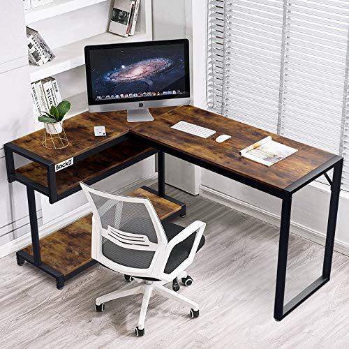 Scrivania Angolare per Computer, Scrivania a Forma di L, Moderna e Robusta, per Ufficio, Facile da Montare, Resistente ai Graffi (Marrone)