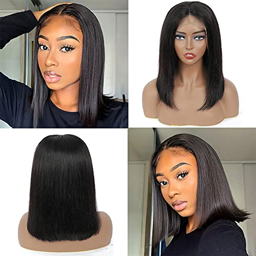 Short Straight Bob Lace Front Wigs Human Hair With Baby Hair 13x4 Brazilian Straight Virgin Human Hair Lace Front Wigs for Black Women Pre Plucked 150% Density(14 Inch, 13x4 Straight Bob Wig)