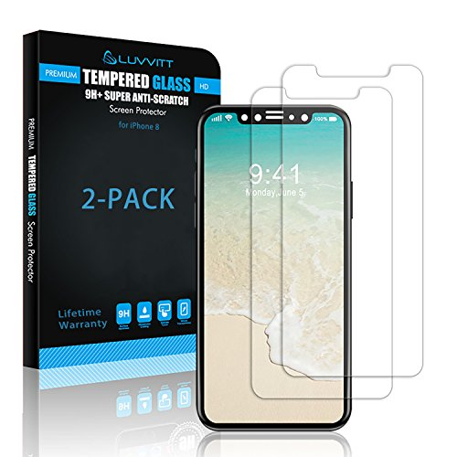 iPhone Xs Tempered Glass Screen Protector, LUVVITT [2 Pack] Tempered Glass Screen Protector for Apple iPhone X and XS with 5.8 inch Screen 2017-2018 - Crystal Clear