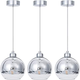 SHENGQINGTOP Modern Kitchen Pendant Light in Polished Chrome Finish with Hand Blown Glass Shape, 8