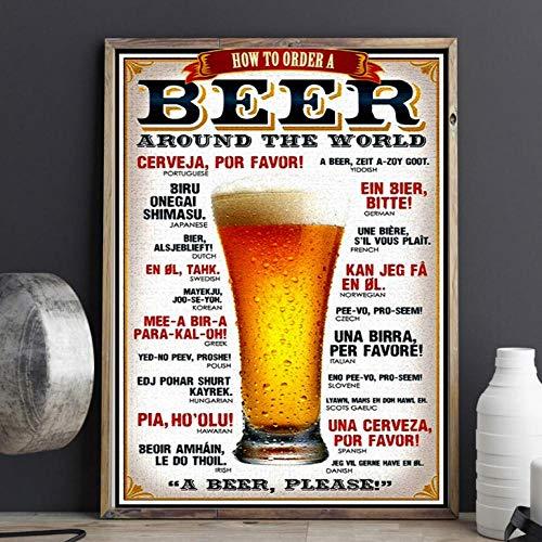 Terilizi Hoe bestel ik een bier vintage char canvas bedrukt modern schilderij poster muurkunst schilderijen voor woonkamer decoratie 60 * 90 cm - niet ingelijst
