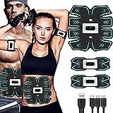 Electroestimulador Muscular Abdominales-Hombre y Mujer-Estimulador Muscular con 6 Modos de Ejercicio, 15 Intensidades de Vibración, EMS Principio,USB Carga, para Abdomen/Brazos/Glúteos/Piernas