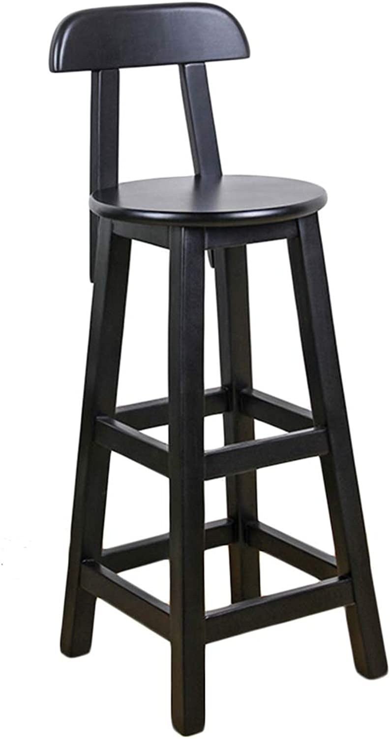 LIQICAI Wooden Black Bar Stool with Backrest and Footrest Breakfast Extremely Comfy, 4-Leg Structure, 3 Height Optional (color   1 PCS, Size   36x36x80cm)
