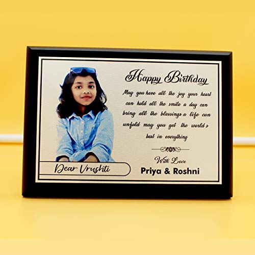 Ishika Creation Silver Print Personalized Gift Wooden Photo Frame with Customized Photos, Message for Birthday for Sister, Brother, Friends, Mom, Dad, Couple (7 X 5 Inch - 18 MM Thickness, Black)