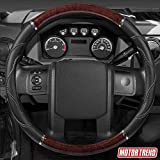 BDK SW-352-DW Dark Wood/Black Big Rig Steering Wheel Cover for Trailer Truck Car 18' Inch XLarge, 1 Pack (Cherry