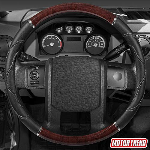 BDK Black/Dark Wood Grain Soft Leather Grip Big Rig Steering...