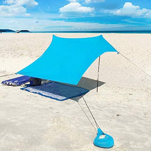 XISHUAI Carpa Playa con Ancla de Arena - Portátil Refugio Playa 100% Lycra UPF50+ UV Protection - 2.1m x 2.1m para Niños Bebe Familia