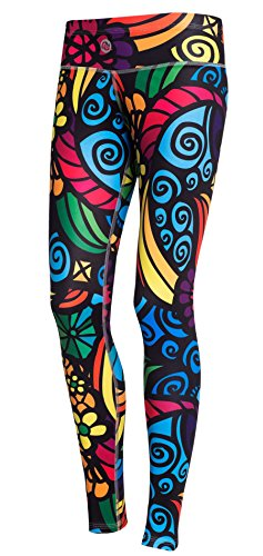 Nessi Collant de Course longue Leggings oslk Fitness Pantalon Respirant Colored mosaic2, 04L Mosaikglas
