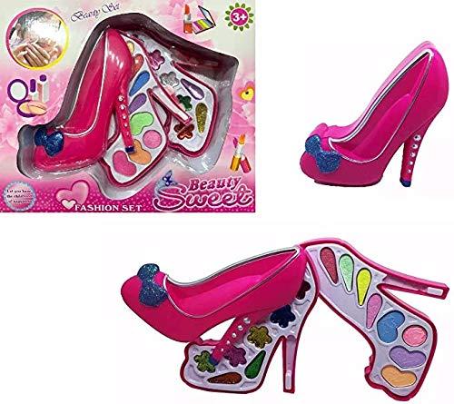 Kit Maquiagem Princesas Infantil Rosa Pink Formato De Sapato Anti Alergico Brinquedo