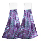 3D Magical Mermaid Scales Kitchen Hanging Hand Towels,Purple Glitter Absorbent Tie Towel with Loop 2 PCS Kitchen Linen Sets for Bathroom Restroom Home Decor