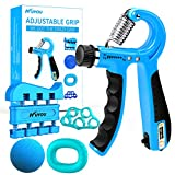 KUYOU Handtrainer Fingertrainer [5er Set] - Verbessertes Konzept 2019 - Hand Unterarm Trainingsgerät Grip Griffkraft Trainer - Fingerhantel Training Unterarmtrainer für Fitness Krafttraining (Blau)