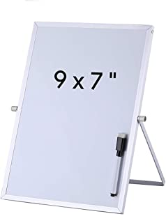 Aelfox 9 x 7 Inch Desktop Small Dry Erase Board with Stand, Double-Sided Magnetic Small White Board Planner Reminder Board with Marker for Office, Home, School