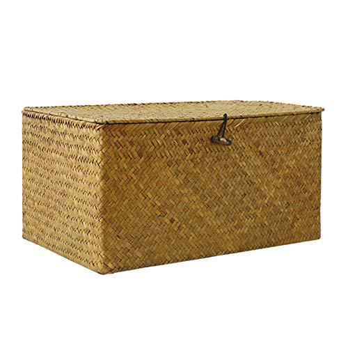 HJWXY - Hebilla de algas tejida a mano para almacenamiento de oficina, almacenamiento de ropa, cesta con tapa