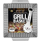 Homeflowz Vegetable Grill Basket and Scraper - Large Heavy Duty Stainless Steel Grilling Basket - Grills Veggies Fish Shrimp Kabob & Meat - Compatible with ALL outdoor BBQ Grills
