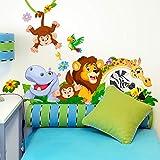 R00500 Adesivi Murali Soffice Effetto Tessuto Animali Savana Zoo Decorazione Muro Bambino Neonato Nursery Cameretta Asilo Nido Carta da Parati Adesiva