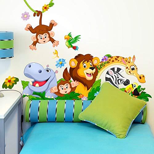 kina R00500 Adesivi Murali Scimmie Ippopotamo Leone Giungla Decorazione Muro Bambino Cameretta Asilo Nido Camera Letto