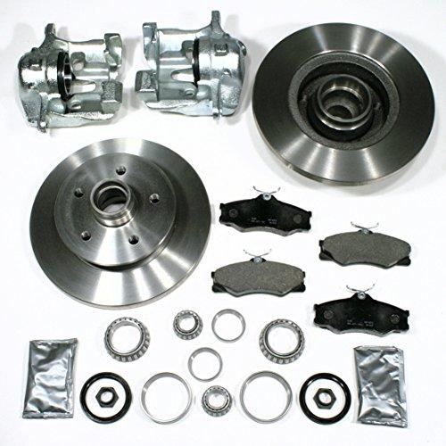 2 x Bremssattel/Bremszange (Faustsattel) + 2 Bremsscheiben + Bremsbeläge + 2 Radlager für links + rechts vorne/Vorderachse