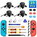 4 Pack Joycon Joystick Replacement, Switch Analog Stick Parts for Nintendo Switch Joy Con, Controller Repair Kit Include 6 Thumbstick Grips, 4 Thumb 3D Sticks, 2 Metal Buckles, 2 Screwdriver,Pry Tools