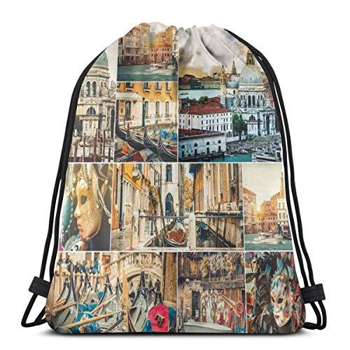 YUDILINSA Beutel Rucksack Kordelzug Turnbeutel,Collage von verschiedenen Ansichten der Stadt Venedig mit Canal Cathedral Palace Travel Theme,Unisex Sportbeutel Kordelzug Rucksack für Sport,Outdoor