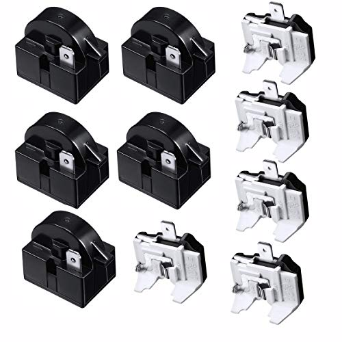 Refrigerator Compressor Relay and Overload Kit 5 Sets,Refrigerator Starters QP2-4R7 4.7 Ohm 1 Pin Refrigerator PTC Starter Relays and 6750C-0005P Freezer Overload Protectors