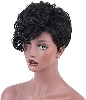 Aimole Short Curly Women's Wigs Asymmetrical Side Bang Synthetic Hair Women Black Wig