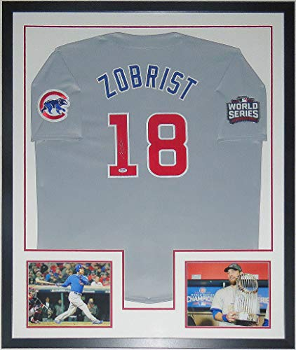 Ben Zobrist Signed Chicago Cubs 2016 World Series Jersey - PSA DNA COA Authenticated - Custom Framed & 2 8x10 Photo & Patch 34x42